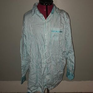 Victorias secret blue/ white striped bedtime shirt